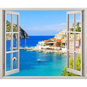 Tranh dán tường cửa sổ 3D cảnh biển đẹp VTC VT0245