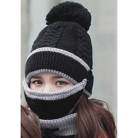 Mũ nón len nữ kèm khăn choàng cổ len kèm khẩu trang dn19111310