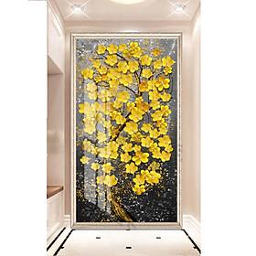 Tranh treo tường phòng khách-Tranh 1 tấm Hoa mai Vàng  M25822/ Gỗ MDF cao cấp / Chống ẩm mốc, mối mọt/Bo viền góc tròn