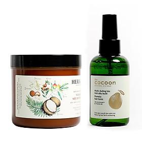 Combo kem ủ tóc herbario 500ml + Nước dưỡng tóc xịt bưởi pomelo cocoon 140ml