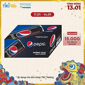 Thùng 24 Lon Nước Ngọt Có Gas Pepsi Không Calo (330ml/Lon)