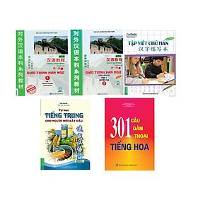 Combo 5 cuốn tự học tiếng trung: Giáo Trình Hán Ngữ 1 và 2,Vở Tập Viết Chữ Hán, 301 Câu Đàm Thoại Tiếng Hoa Và Tự Học Tiếng Trung cho người mới bắt đầu tặng sổ tay VDT
