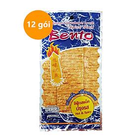 Lốc 12 Gói Snack Mực Tẩm Gia Vị Cay Hot & Spicy Bento (6g / Gói) Gói Màu Xanh, Nhập Khẩu Từ Thái Lan