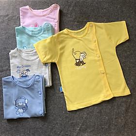 Combo 10 áo sơ sinh cotton tay ngắn màu cài nút lệch Thái Hà Thịnh ( Tặng kèm 1 đôi tất cotton amigo nhiều màu)