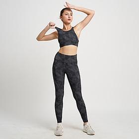 Set đồ tập Yoga Gym thiết kế cao cấp Hibi Sports Áo 2 dây cổ yếm - Quần lưng cao nâng mông tôn dáng H110 - Áo có mút nâng ngực