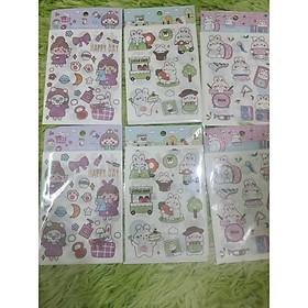 Set 4 Tấm Sticker Xinh Dễ Thương Hình Dán Cute Stickers Trang Trí Sổ Tay Dán Mũ Bảo Hiểm điện thoại siêu đẹp
