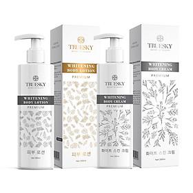 Bộ tắm trắng toàn thân cấp tốc Truesky Premium dạng vòi nhấn gồm 1 chai ủ trắng 200ml & 1 chai dưỡng trắng 200ml