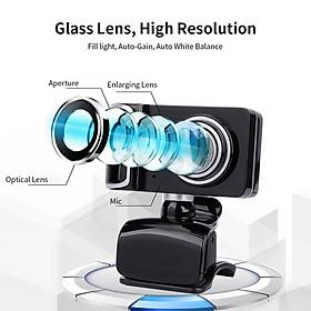 Portable HD Webcam 480P 5MP 30fps Web Camera Built-in Microphone USB Plug & Play for Laptop Desktop