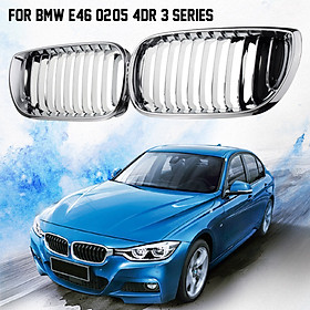 Chrome Front Bumper Grill Grilles Gille For BMW 3 Series E46 2002-05 4Door
