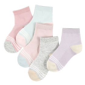 Cat (MiiOW) boys and girls spring and summer cotton socks in the big children's children's mesh short tube socks 5 pairs of 3-12 years old mixed color 5 pairs (1006) S (1-3 years old)
