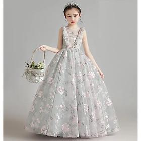 DBG053 - Váy đầm công chúa bé gái xám tùng dài