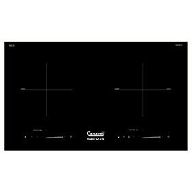 Bếp điện 02 từ CANAVAL CA-316 Inverter Bo điều khiển Italia Chíp điều khiển SIMENS Mặt kính Ceramic Viền vàng 4 cạnh - Màu đen (4000W) - Hàng chính hãng