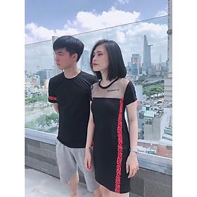 Set đồ đôi áo váy cặp CoupleTina 100% cotton cao cấp  - Màu đen họa tiết sọc đỏ cá tính