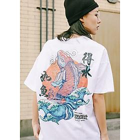 Áo thun nam nữ Hip Hop Retro Trung Quốc in Cá Koi Áo phông trắng