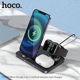 Đế sạc không dây Hoco 3IN1 CW33 sạc nhanh 15w có 3 chứa năng sạc không dây cho các thiết bị điện thoại-đồng hồ - tai nghe-Hàng chính hãng,