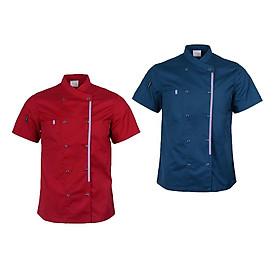 2 Pcs Mens Fashion Chef Coat Jacket Chef Vest Uniform with Front Pocket XXL