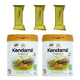 Combo 2 hộp Sữa bột Nguyên kem công thức hữu cơ KENDAMIL ORGANNIC số 3: ORGANIC TODDLER MILK (800G) ( cho trẻ từ 1-3 tuổi) - Phát triển chiều cao và trí não, tăng cân, tăng sức đề kháng – Tặng 3 bánh quế cuộn hiệu Kapad