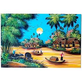 Tranh sơn mài Phong cảnh Đồng quê Cao cấp MNV-SMMT01-2