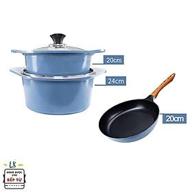 Combo 3 món cao cấp, bộ 2 nồi đúc chống dính vân đá ceramic 2 tay cầm đế từ (20- 24 cm) và chảo đúc cạn 20 cm dùng được tất cả các bếp, kể cả bếp từ - Hàng chính hãng