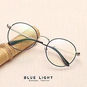Kính Giả Cận, Gọng Kính Giả Cận Nam Nữ Mắt Tròn Gọng Bạc Viền Đen Không Độ Hàn Quốc - BLUE LIGHT SHOP