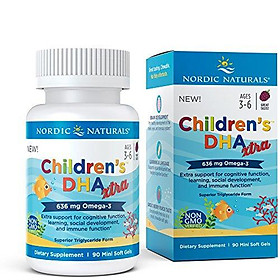 Nordic Naturals Children's DHA Xtra - Potent Omega 3 Formula with Twice The DHA for Kid's Cognitive Development, Learning and Mood*, Berry Punch, Softgel - 90 Count