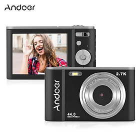 Andoer Mini Digital Camera 44MP 2.7K 2.88-inch IPS Screen 16X Zoom Self-Timer 128GB Extended Memory Face Detection