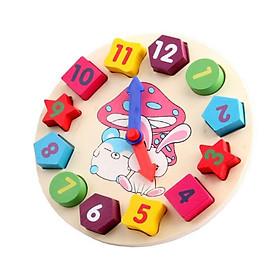 Đồng hồ hình khối bằng gỗ - đồ chơi cho bé