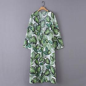 Áo Khoác Đi Biển Kiểu Kimono Tay Dài Hoạ Tiết In Lá Cây Nhiệt Đới