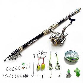 Bộ Cần câu cá EXPERT Pat đồng khuyên kép + Máy câu Yolo TFP6000 + Tặng kèm 11 phụ kiện  (B91)