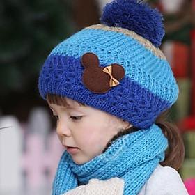 Bộ mũ khăn len cho bé 2 tuổi tới 7 tuổi