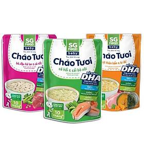Combo 3 gói cháo tươi baby Sài Gòn Food vị (thịt bằm, bò, cá hồi) 240g