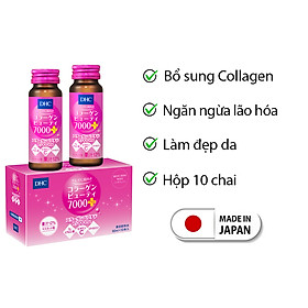 Collagen DHC Nhật Bản dạng nước Collagen Beauty 7000 Plus thực phẩm chức năng làm đẹp da, trẻ hóa da bổ sung Vitamin C giúp da căng mọng tràn sức sống Hộp 10 chai JN-DHC-CB7