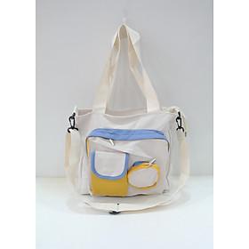 Túi xách tote vải có 2 túi nhỏ 0225
