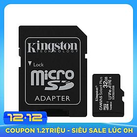 Thẻ nhớ Kingston microSDHC 32GB CL10 UHS-I SDCS2/32GB - 100MB/s (Có Adapter) - Hàng Chính Hãng