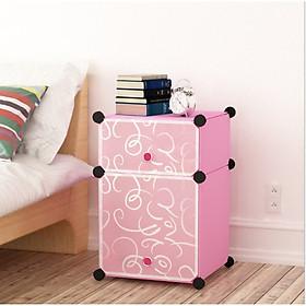 Tủ đầu giường lắp ghép 2 ô(1 ô nhỏ, 1 ô lớn) đa năng, sâu 37