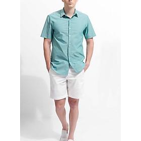Áo Sơ Mi Nam The Cosmo Tay Ngắn Colin Shirt màu xanh ngọc TC1022082TU