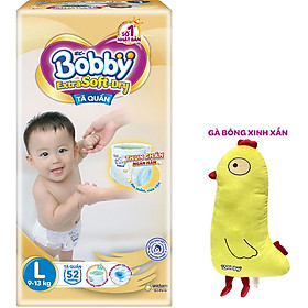 Tã Quần Cao Cấp Bobby Extra Soft Dry Thun Chân Ngăn Hằn L52 (52 Miếng) - Tặng 1 Gà Bông Xinh Xắn