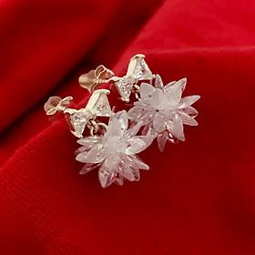 Bông tai nữ Bạc Quang Thản, khuyên tai bạc kiểu chốt đeo sát tai treo hoa tuyết trắng chất liệu bạc thật không xi mạ - QTBT84
