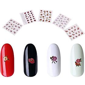 Bộ 10 tấm decal dán móng họa tiết bông hoa, cánh bướm - sticker trang trí móng nghệ thuật Nail art sang trọng H10