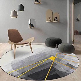 Round Floor Pad Polyester Fiber Abstract Print Circular Carpet  Household Floor Cover