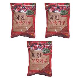 COMBO 3 GÓI Ớt Bột Vảy (Cánh) LOẠI 1 KG  Hàn Quốc Làm Kim Chi CHACKHAN - NONGWOO