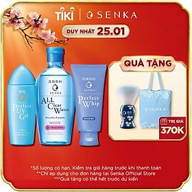 Bộ sản phẩm Senka làm sạch và chống nắng dành cho mọi loại da (Tẩy trang Senka White 230ml + Sữa Rửa Mặt Senka Whip 120g + Gel chống nắng Senka UV Gel 80ml)