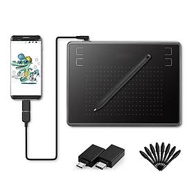 Bảng vẽ cảm ứng H-430P - 4096 mức cảm ứng lực nhấn, Bút không pin - Bảng Vẽ Đồ Họa Kỹ Thuật Số 430P Dùng Cho Điện Thoại Android và Máy Tính Kèm 02 Đầu OTG và 08 Ngòi Bút Thay Thế