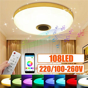 RGBW 108LED (36White+36Warm White+36Multicolor) Dimmable Bluetooth Speaker Music Ceiling Light Down Lamp Downlight Fixture Starlight w/ APP Remote Control Decor AC100-260V