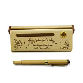 Bút gỗ bi nước cao cấp làm quà tặng ngày Valentine (Kèm hộp đựng sang trọng)