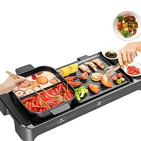 Bếp lẩu nướng điện 2 trong 1 đa năng chống dính cao cấp (có thể tháo rời) - Công suất : 1100 - 2200W - Nhiệt độ: 200 đến 450 độ C - Chất liệu: Nhôm đúc nguyên khối + Nhựa ABS - Kích thước: 68x26cm