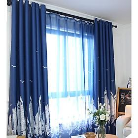 Rèm vải che nắng rèm treo cửa nhà phố màu xanh đậm mẫu mới (nhiều size)