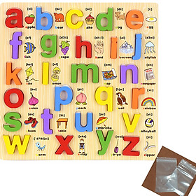 Bảng học chữ cái in thường bằng gỗ song ngữ kèm túi zip đựng chữ