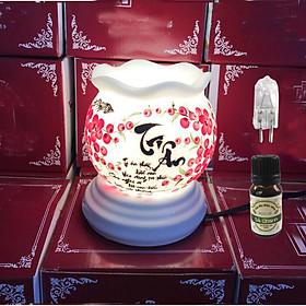 Combo đèn xông tinh dầu và 1 chai tinh dầu sả chanh Eco 10ml và 1 bóng đèn chủ đề Nhà giáo việt nam Quà tặng 20/11