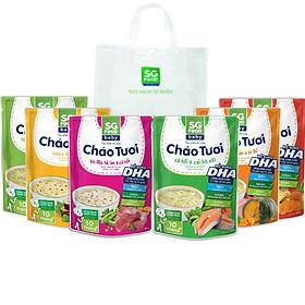 Lốc 6 Túi - Cháo Tươi Baby Sài Gòn Food 240g, Gà, Thịt Bằm, Bò, Tôm, Lươn, Cá Hồi